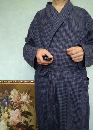 Удобный брендовый тёмно синий мужской халат в клеточку tu с дл...