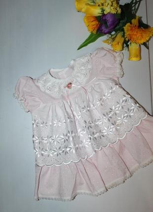 Нежное хлопковое платье не девочку 6 месяцев