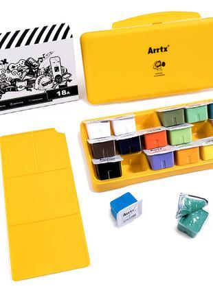 Гуашь Arrtx 18 цветов по 30 мл (AJG-001-18B), желтая коробка