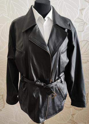 Кожаная куртка косуха в большом размере из натуральной кожи canda