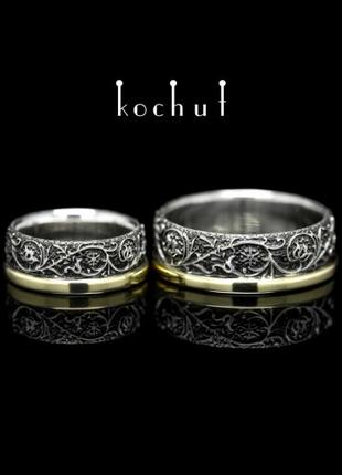 Обручальные кольца «Гармония природы». Серебро, золото, чер родий