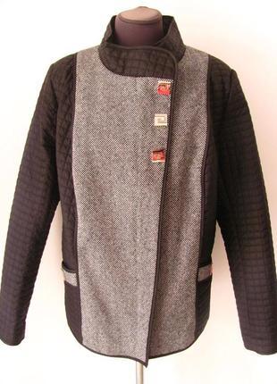 Комбинированная женская стеганая демисезонная куртка с твидом,...