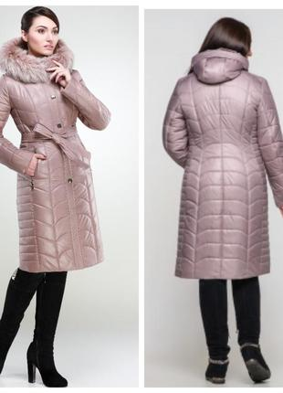 Актуальное женское пальто из плащевой ткани на утеплителе холл...