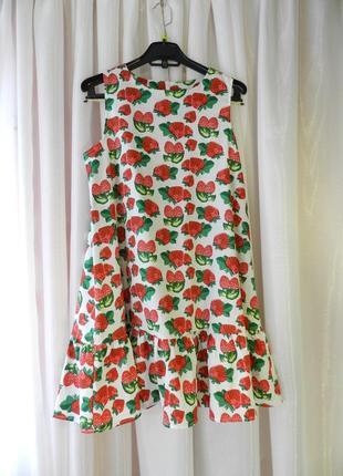 ✅ красивый летний яркий сарафан платье с сочными клубничками в...