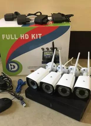 Набор видеонаблюдения (монитор + 4 камеры WiFi) + ПОДАРОК