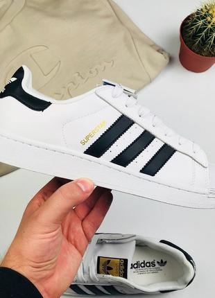 "Кроссовки Adidas Superstar Leather ""White-Black-Gold"""