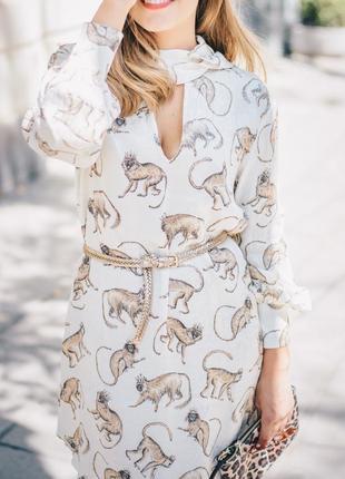 Платье h&m с обезьянками и бантом