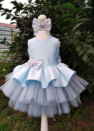 Голубое детское платье на любой праздник