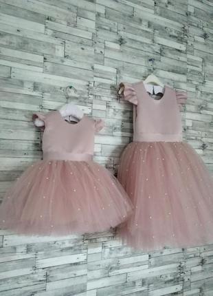 Пудровое платье для девочек на праздник