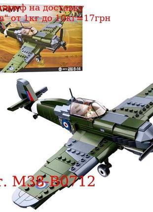 Конструктор SLUBAN M38-B0712 военный самолет, фигурка, 290дет,...