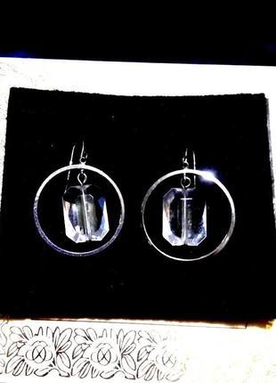 Серьги - подвески кольца spikes под серебро с прозрачным камнем