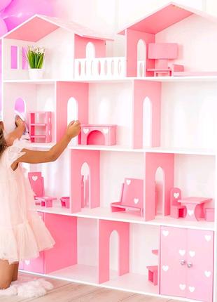 Кукольный домик 4 этажа Белый с розовым