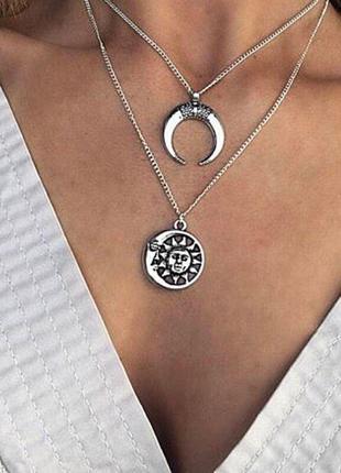 Многослойная женская цепочка на шею с подвеской луна солнце