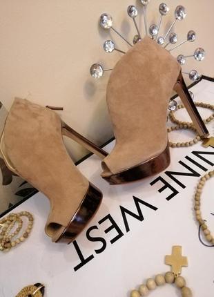 Ботильоны замшевые туфли nine west