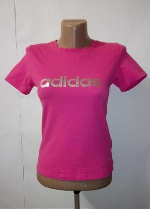 Розовая хлопковая спортивная футболка adidas uk 10/38/s