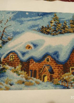 "Картина вышитая бисером ""Зимова хатка"""