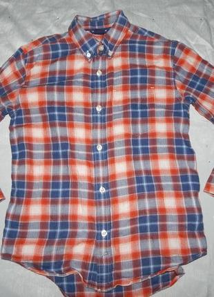 Рубашка модная в клетку байка на мальчика 6 лет  120см