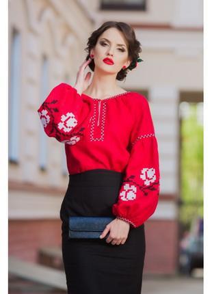 Шикарна вишиванка червоного відтінку з вишитими білими троянда