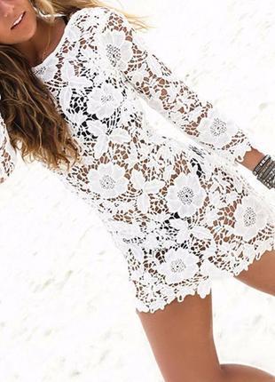 Пляжнoe платье туника кружево белое цветы без рукавов