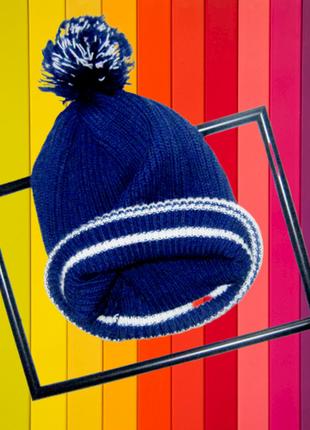 Крутая шапка, полоска,крупная вязка
