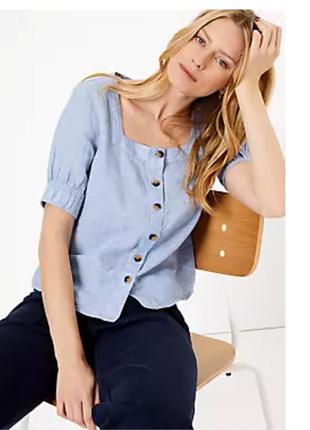 Льняная блузка топ с коротким рукавом и квадратным вырезом  m&s