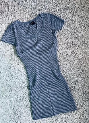 Платье лапша платьице в рубчик серого цвета