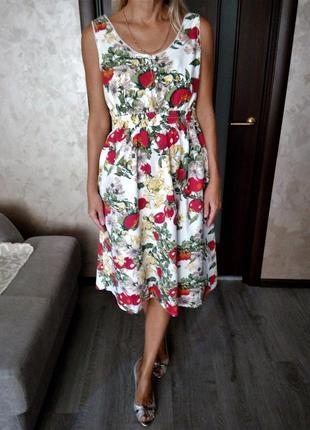 Изумительное коттоновое платье в цветочный принт от tu😍
