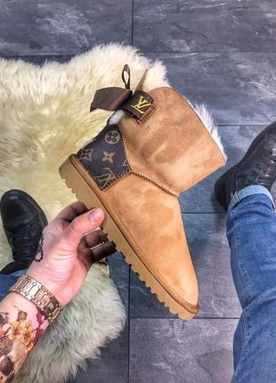Женские коричневые ботинки ugg mini bailey bow brown