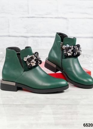 ❤ женские зеленые деми весенние кожаные ботинки сапоги полусап...