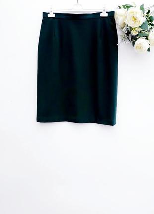 Красивая зелёная юбка миди шерстяная юбка миди