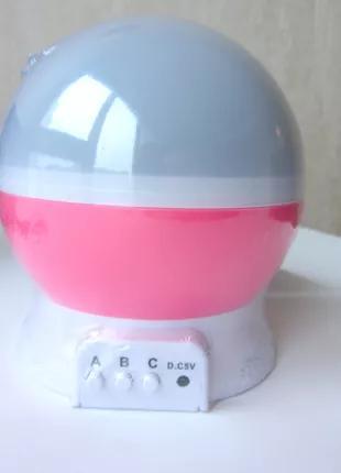 Розовый детский ночник проектор Star Master Звездное небо шар