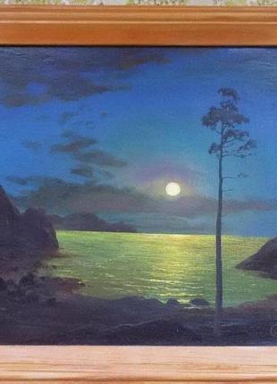 """Картина-масло """"Луна над морским заливом"""". Огурцов А. 1997 г."""
