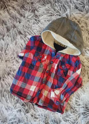 Детская рубашка marks& spencer red blue, теплая рубашка в клет...