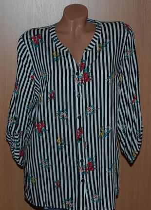 Блуза принтованая бренда matalan /регулируемый рукав /