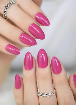 Комплект накладных ногтей 24 шт ярко-розового цвета