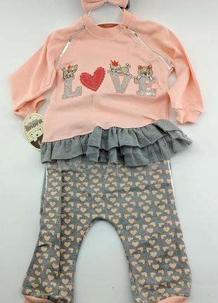 Комплект костюм на девочку 1 3 6 9 месяцев