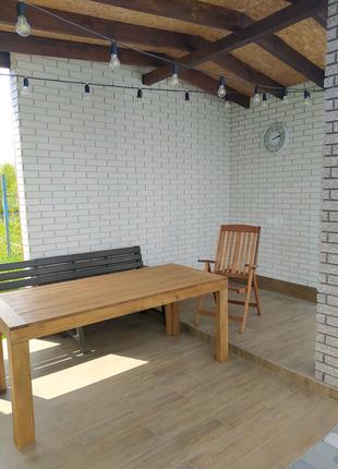 Стол из массива термо дуба, стол дачный, стол садовый