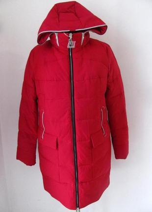 Женский пуховик удлиненный зимний с капюшоном,красный код 4092м