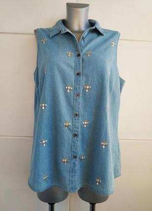 Стильная джинсовая рубашка с коротким рукавом тu с вышивкой