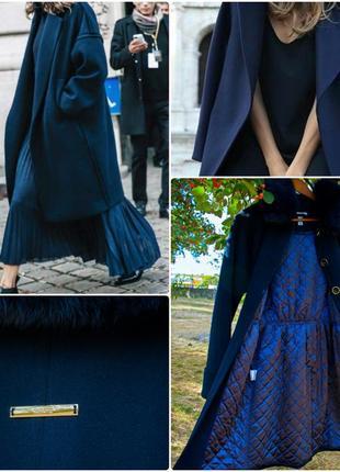 Культовое пальто миди oversize синее свободный крой s 44 samang