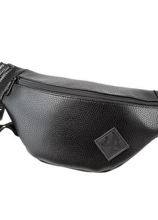 Поясная сумка черная - премиум экокожа