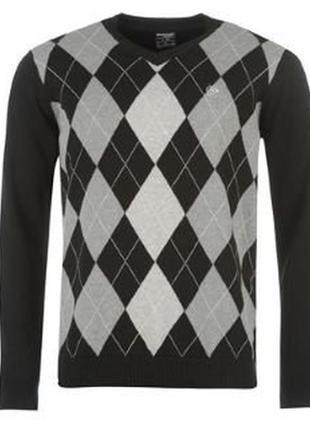🎁1+1=3 стильный черный мужской свитер в ромбик dunlop, размер ...