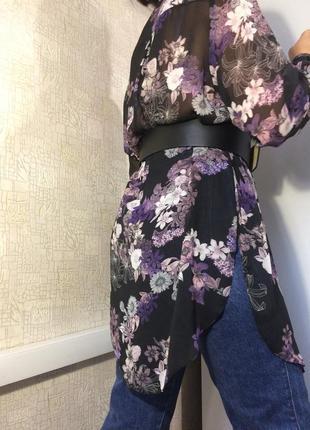 Черная прозрачная блузка/рубашка в цветочный принт