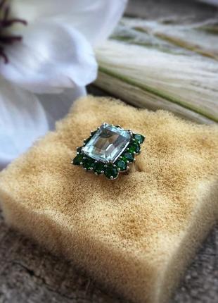 Кольцо, серебро 925 проба, много камней, размер 16
