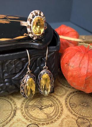 Серьги и кольцо ссср , серебро 875 звезда, лимонный цитрин