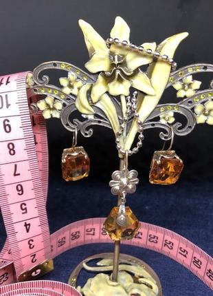 Винтажный набор серьги кулон ссср, серебро 875 звезда, вставки...