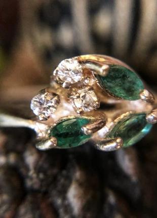 Старинное кольцо серебро 925 проба, ссср, изумруд