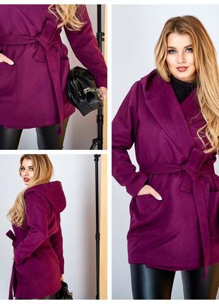 Женское кашемировое пальто марсала SKL92-289480