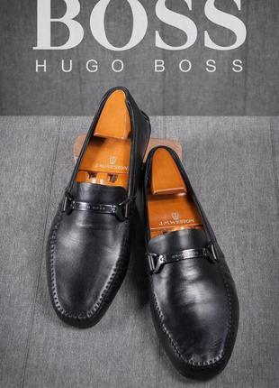 Мокасины hugo boss, италия 39-40 кожаные мужские бу лоферы туфли