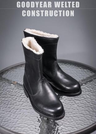 Кожаные зимние сапоги 40,5-41р мужские ботинки теплые
